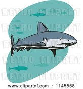 Vector Clip Art of Retro Shark Swimming with Fish 2 by Patrimonio