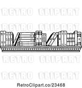 Vector Clip Art of Retro Shelf with Books by Prawny Vintage