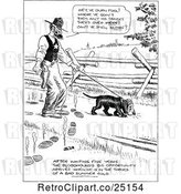 Vector Clip Art of Retro Sheriff and Bloodhound Not Following Tracks by Prawny Vintage
