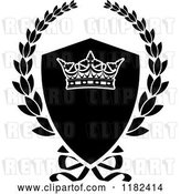 Vector Clip Art of Retro Shield and Laurel Wreath with a Crown by Vector Tradition SM