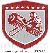Vector Clip Art of Retro Shield with a Dumbbell and Sledgehammer by Patrimonio