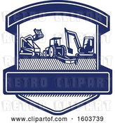 Vector Clip Art of Retro Shield with Heavy Equipment Used in Tree Mulching Bush Hogging and Excavation Services in Blue and White by Patrimonio