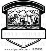 Vector Clip Art of Retro Shield with Heavy Equipment Used in Tree Mulching Bush Hogging and Excavation Services in by Patrimonio