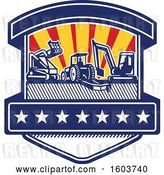 Vector Clip Art of Retro Shield with Heavy Equipment Used in Tree Mulching Bush Hogging and Excavation Services with Rays by Patrimonio