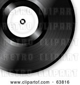 Vector Clip Art of Retro Shiny Black Vinyl Record with a Blank White Label by Elaineitalia