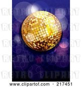 Vector Clip Art of Retro Shiny Gold Disco Ball with Purple and Blue Sparkles by MilsiArt