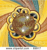 Vector Clip Art of Retro Shiny Golden Disco Ball over Records and Swirls by Elaineitalia