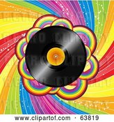 Vector Clip Art of Retro Shiny Vinyl Record Spinning over a Spiraling Rainbow Background by Elaineitalia