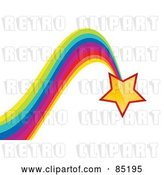 Vector Clip Art of Retro Shiny Yellow Star with a Bouncing Rainbow Trail by MilsiArt