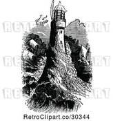 Vector Clip Art of Retro Ship and Waves Crashing into a Light House by Prawny Vintage
