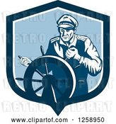 Vector Clip Art of Retro Ship Captain Steering a Helm by Patrimonio