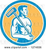Vector Clip Art of Retro Shirtless Male Worker with a Sledgehammer in a Blue White and Yellow Circle by Patrimonio