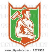 Vector Clip Art of Retro Shirtless Male Worker with a Sledgehammer in a Taupe Orange White and Green Shield by Patrimonio