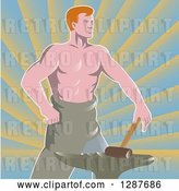 Vector Clip Art of Retro Shirtless Muscular Blacksmith with a Hammer and Anvil over Rays by Patrimonio