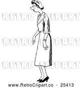Vector Clip Art of Retro Shocked Woman by Prawny Vintage