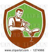 Vector Clip Art of Retro Shoemaker Cobbler Working in a Brown White and Green Shield by Patrimonio