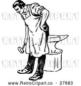 Vector Clip Art of Retro Shoesmith Bending over by Prawny Vintage