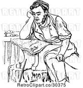 Vector Clip Art of Retro Shoesmith Reading by Prawny Vintage