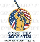 Vector Clip Art of Retro Shooters Aim to Please Text Under a Guy with a Shotgun by Patrimonio