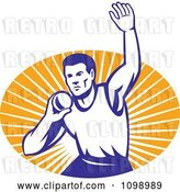 Vector Clip Art of Retro Shot Put Athlet Throwing over an Oval of Orange Rays by Patrimonio