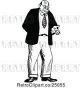Vector Clip Art of Retro Shrugging Guy Gesturing with a Hand by Prawny Vintage