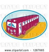 Vector Clip Art of Retro Shuttle Bus in an Oval of Sunshine by Patrimonio