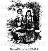 Vector Clip Art of Retro Shy Courting Couple on a Bench by Prawny Vintage