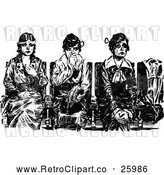 Vector Clip Art of Retro Sick Women Waiting by Prawny Vintage