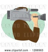 Vector Clip Art of Retro Side View of a Male Cameraman Working in a Green Oval by Patrimonio