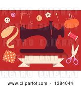 Vector Clip Art of Retro Silhoeutted Sewing Machine and Notions on Red by BNP Design Studio
