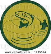 Vector Clip Art of Retro Silhoeutted Wading Fisher Man Reeling in a Jumping Trout in a Green Circle by Patrimonio