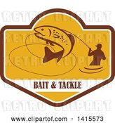 Vector Clip Art of Retro Silhoeutted Wading Fisher Man Reeling in a Jumping Trout in a Yellow Crest over Bait and Tackle Text by Patrimonio