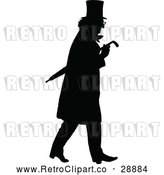 Vector Clip Art of Retro Silhouette Man with an Umbrella by Prawny Vintage