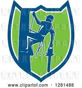 Vector Clip Art of Retro Silhouetted Arborist Climbing a Pole with a Chainsaw in a Blue White and Green Shield by Patrimonio