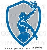 Vector Clip Art of Retro Silhouetted Basketball Player Doing a Layup in a Blue White and Gray Shield by Patrimonio