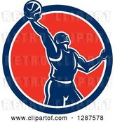 Vector Clip Art of Retro Silhouetted Basketball Player Doing a Layup in a Blue White and Red Circle by Patrimonio