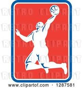 Vector Clip Art of Retro Silhouetted Basketball Player Doing a Layup in a Blue White and Red Rectangle by Patrimonio
