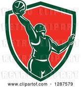 Vector Clip Art of Retro Silhouetted Basketball Player Doing a Layup in a Green White and Red Shield by Patrimonio