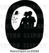 Vector Clip Art of Retro Silhouetted Birds Watching a Couple Kissing by Prawny Vintage