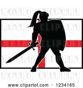 Vector Clip Art of Retro Silhouetted Black Knight in Full Armor over an English Flag by Patrimonio