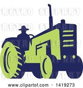 Vector Clip Art of Retro Silhouetted Blue and Green Farmer Operating a Tractor by Patrimonio