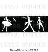 Vector Clip Art of Retro Silhouetted Border of a Ballerina and Men by Prawny Vintage