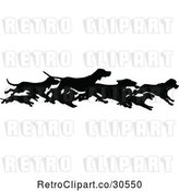 Vector Clip Art of Retro Silhouetted Border of Running Dogs by Prawny Vintage