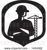 Vector Clip Art of Retro Silhouetted Builder Engineer or Foreman with Folded Arms in a a Shield with a Construction Crane by Patrimonio