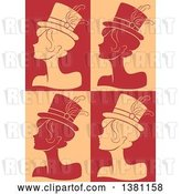 Vector Clip Art of Retro Silhouetted Burlesque Women Wearing Hats over Tan and Red by BNP Design Studio