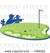 Vector Clip Art of Retro Silhouetted Caddie and Golfer over a Golf Course by Patrimonio