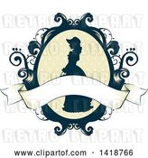 Vector Clip Art of Retro Silhouetted Cameo of a Victorian Lady in a Floral Frame with a Blank Ribbon by BNP Design Studio