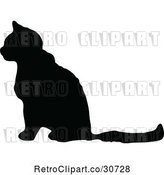 Vector Clip Art of Retro Silhouetted Cat in Profile by Prawny Vintage