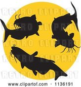 Vector Clip Art of Retro Silhouetted Catfish over a Yellow Circle by Patrimonio