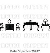 Vector Clip Art of Retro Silhouetted Chairs and Tables by Prawny Vintage